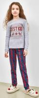 Пижама детская Mark Formelle 567722 (р.110-56, серый меланж/клетка красно-зеленая) -