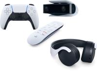 Комплект устройств для игровой приставки Sony DualSense+Media Remote+камера для PS5+Pulse 3D Wireless Headset (белый) -