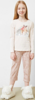 Пижама детская Mark Formelle 567711 (р.110-56, молочный/цветочные узоры на бежевом) -