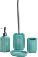 Набор аксессуаров для ванной и туалета АкваЛиния Плиссе CE1610B/1 (бирюзовый) -