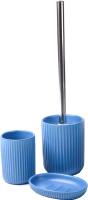 Набор аксессуаров для ванной и туалета АкваЛиния Плиссе CE1610LA/3 (синий матовый) -