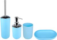 Набор аксессуаров для ванной и туалета АкваЛиния Муар PP0328C/1 (голубой) -