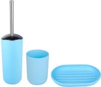 Набор аксессуаров для ванной и туалета АкваЛиния Муар PP0328C/3 (голубой) -