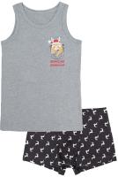 Комплект бельевой детский Mark Formelle 443001 (р.104-56, серый меланж/олени на сером) -