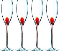 Набор бокалов для шампанского Luminarc Drip red C9260 (4шт) -