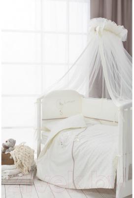 Комплект постельный в кроватку Perina Le Petit Bebe / ПБ6-01.5 (молочный/кофейный)