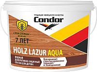 Защитно-декоративный состав CONDOR Holz Lazur Aqua (2.5кг, белый молочный) -