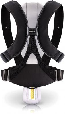 Эрго-рюкзак BabyBjorn Miracle Cotton Mix 0960.65 (черно-серебристый) - вид сзади