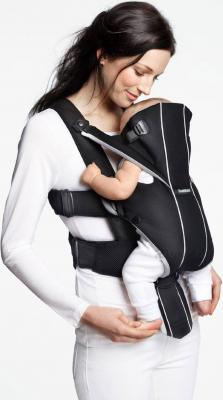 Эрго-рюкзак BabyBjorn Miracle Cotton Mix 0960.65 (черно-серебристый) - ребенок лицом к маме