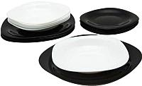 Набор тарелок Luminarc Carine Black/White N1479 (18шт) -