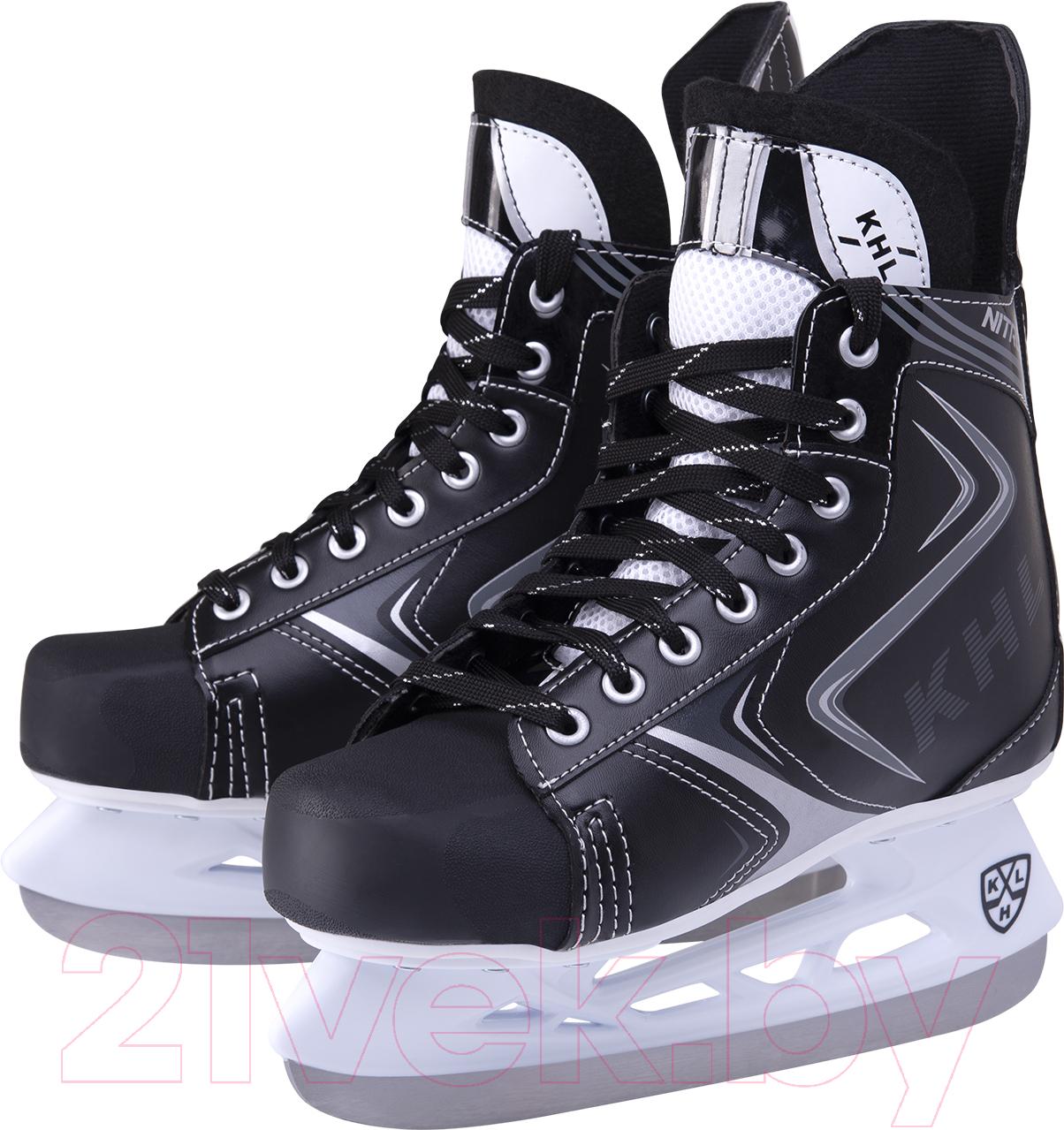 Купить Коньки хоккейные KHL, Nitro (р-р 37), Китай, черный, пластик