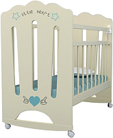Детская кроватка VDK Little Heart колесо-качалка (слоновая кость) -