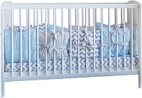 Комплект в кроватку Polini Kids Зигзаг 5 (120x60, серый/голубой) -