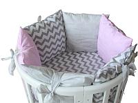Комплект в кроватку Polini Kids Зигзаг 5 (120x60, серый/розовый) -