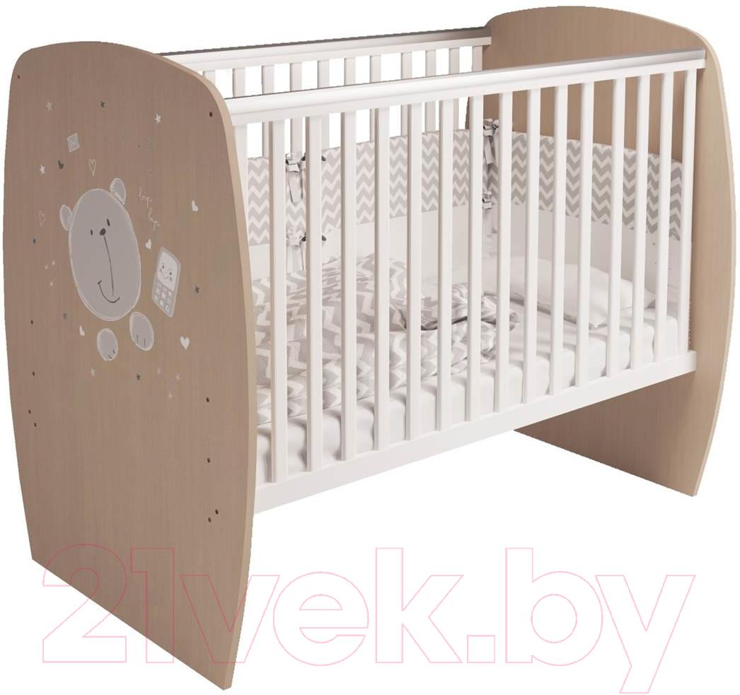 Купить Детская кроватка Polini Kids, French 700 Teddy (белый/дуб пастельный), Россия, массив дерева
