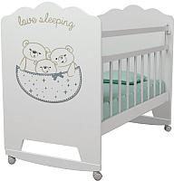 Детская кроватка VDK Love Sleeping колесо-качалка (белый) -