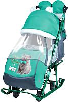 Санки-коляска Ника Детям 7-2 New (котенок, изумрудный) -