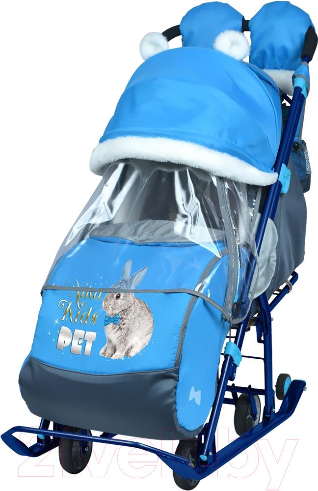 Купить Санки-коляска Ника, Детям 7-2 New (кролик, голубой), Россия, пластик