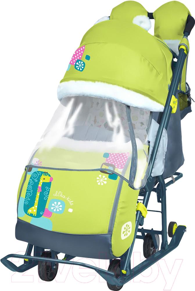 Купить Санки-коляска Ника, Детям 7-2 New (жираф, лимонный), Россия, пластик