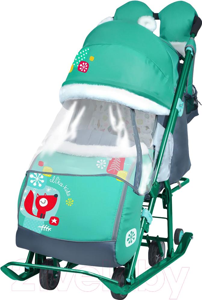 Купить Санки-коляска Ника, Детям 7-2 New (лисичка, изумрудный), Россия, пластик