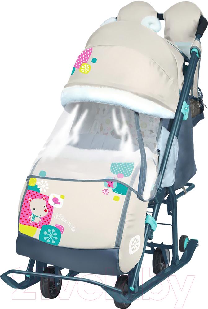Купить Санки-коляска Ника, Детям 7-2 New (мишка, бежевый), Россия, пластик