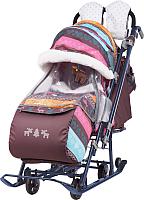 Санки-коляска Ника Детям 7-3 (скандинавский розовый) -