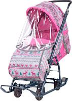 Санки-коляска Ника Умка 3-1 вязанный (розовый) -