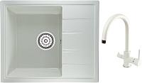 Мойка кухонная Berge BG-5850 + смеситель Spring 3509L (белый глянец/арктик) -
