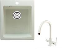 Мойка кухонная Berge BR-4200 + смеситель Spring 3509L (белый/арктик) -
