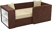 Кровать-тахта Mebelico Орнелла 5 (микровельвет бежевый/коричневый) -