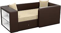 Кровать-тахта Mebelico Орнелла 5 (микровельвет бежевый/экокожа коричневый) -