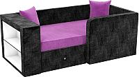 Кровать-тахта Mebelico Орнелла 5 (микровельвет, фиолетовый/черный) -