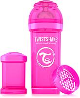 Бутылочка для кормления Twistshake Crazymonkey антиколиковый / 78007 (260мл, розовый) -