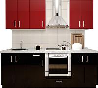 Готовая кухня Хоум Лайн Кристалл 2.6 (черный глянец/бургунский глянец) -