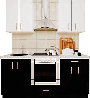 Готовая кухня Хоум Лайн Кристалл 1.8 (черный глянец/белый глянец) -