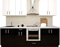 Готовая кухня Хоум Лайн Кристалл 2.4 (черный глянец/белый глянец) -