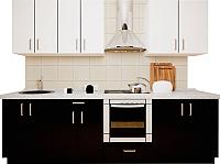 Готовая кухня Хоум Лайн Кристалл 2.8 (черный глянец/белый глянец) -
