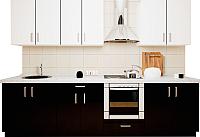 Готовая кухня Хоум Лайн Кристалл 2.9 (черный глянец/белый глянец) -