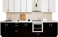 Готовая кухня Хоум Лайн Кристалл 3.0 (черный глянец/белый глянец) -
