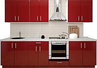 Готовая кухня Хоум Лайн Кристалл 2.7 (бургунский глянец) -