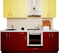 Готовая кухня Хоум Лайн Кристалл 2.2 (бургунский глянец/ваниль глянец) -