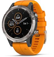 Умные часы Garmin Fenix 5 Plus Sapphire / 010-01988-05 (титановый/оранжевый) -