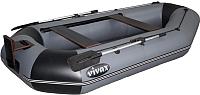 Надувная лодка Vivax К280Т с полом-сланью (без киля, серый/черный) -