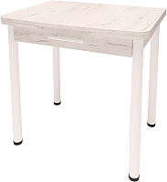 Обеденный стол Millwood Алтай-03 комфорт 80x120 (дуб белый Craft/металл белый) -