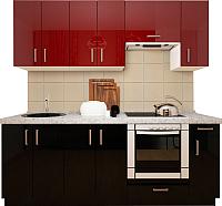 Готовая кухня Хоум Лайн Кристалл плюс 2.1 (черный глянец/бургунский глянец) -