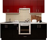Готовая кухня Хоум Лайн Кристалл плюс 2.3 (черный глянец/бургундский глянец) -