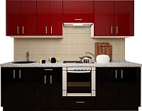 Готовая кухня Хоум Лайн Кристалл плюс 2.5 (черный глянец/бургундский глянец) -