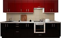 Готовая кухня Хоум Лайн Кристалл плюс 3.0 (черный глянец/бургундский глянец) -