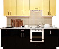 Готовая кухня Хоум Лайн Кристалл плюс 2.4 (черный глянец/ваниль глянец) -