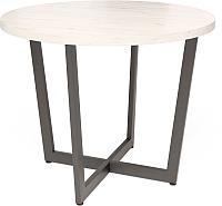 Обеденный стол Millwood Loft O Light D100x75 (дуб белый Craft/металл черный) -